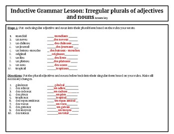 French inductive grammar: Irregular plurals of nouns and adjectives