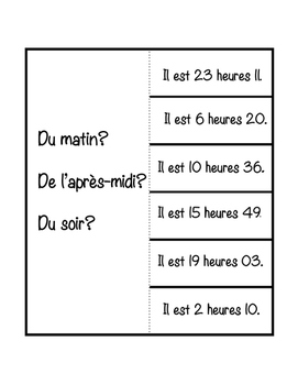 French interactive notebook #5 - cahier interactif - l'heure