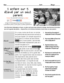 French intermediate reading activity: SINGLE PARENT FAMILIES #2
