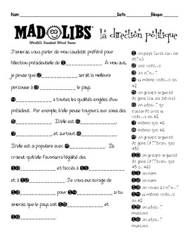French interpersonal speaking activity: Mad Libs about LEADERSHIP / POLITICS