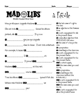 image about Mad Libs Printable Pdf named Outrageous Lib French Worksheets Training Elements TpT