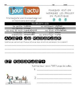 French interpretive listening plastic straws video questions 1jour1actu pailles