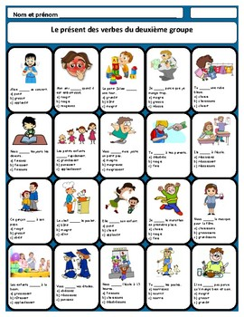 French -ir verbs worksheet, les verbes du deuxième groupe