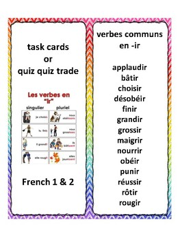 French -ir verbs, task cards, quiz quiz trade, speaking in French