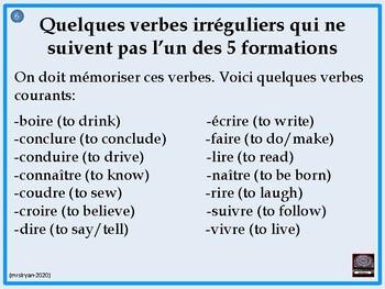 French irregular –re verbs – presentation – lesson