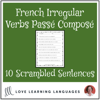 French irregular verbs passé composé scrambled sentences exercise