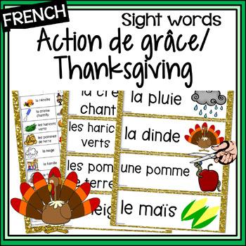 French – l'Action de grâce –Thanksgiving -  les mots fréquents