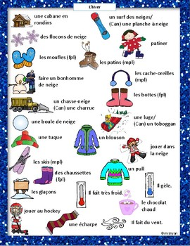 French - l'hiver - sight words - mots fréquents