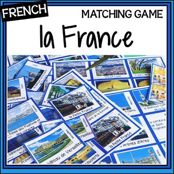 French – la France – un jeu des paires – a matching game