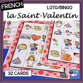 French - la Saint-Valentin - LOTO - Valentine's Day BINGO