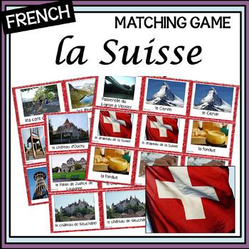 French – la Suisse – un jeu des paires – Switzerland matching game