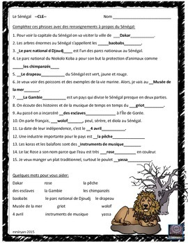 French – le Sénégal – Word Search and Sentence Completion Activity