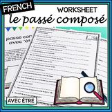 "French –  le passé composé with ""être"" - worksheet and answer key"
