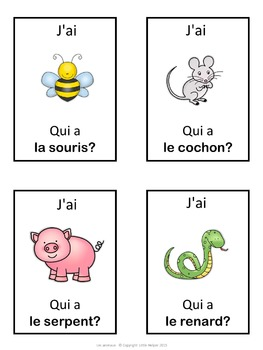 French les animaux  J'ai ... Qui a ...? game