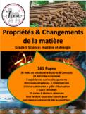 """French: """"les propriétés et changements de la matière"""", Sciences, Grade 5"""