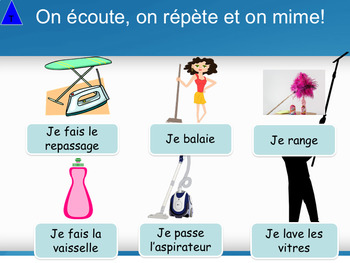 French les tâches ménagères, chores PPT for beginners