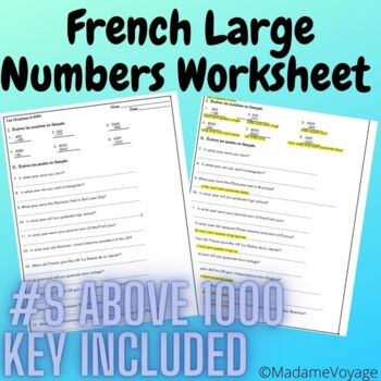 French level 1 homework for large numbers