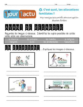 French listening activity: 1jour1actu.com video about ALLOCATIONS FAMILIALES