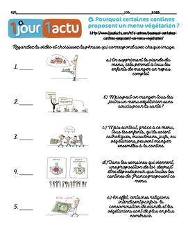 French listening activity: 1jour1actu.com video about VEGETARIAN SCHOOL MENUS