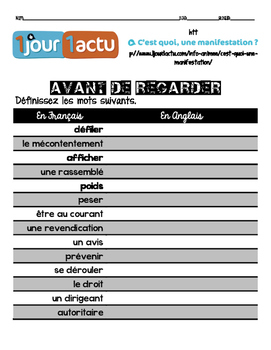 French listening activity: 1jour1actu.com video about THE