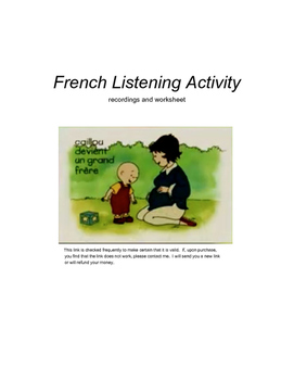Caillou devient un grand frere French listening activity (video and worksheet)