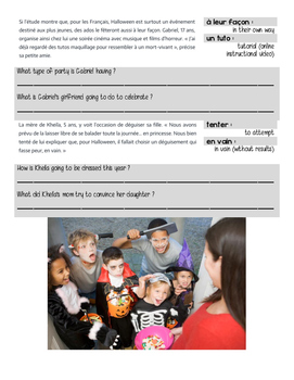 French reading activity: HALLOWEEN