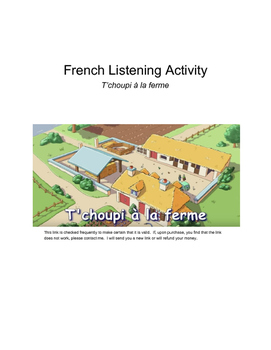 French listening activity - T'choupi à la ferme (video and worksheet)