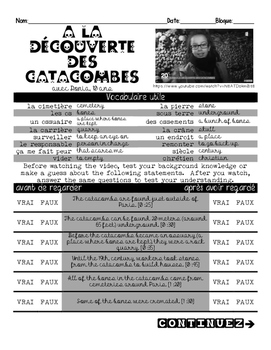 French listening activity/anticipatory guide: PARIS CATACOMBES