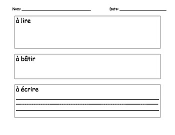 French literacy centers activity sheets