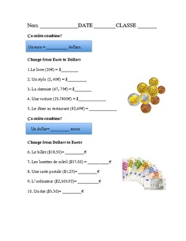 French money exchange EUROS and DOLLARS TIME SAVER