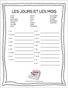 Primary French months and days scrambled words worksheet - Les jours et les mois
