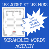 French months and days scrambled words worksheet - Les jou