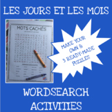 French months and days word search activities - Les jours