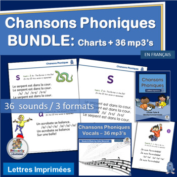 French: Chansons Phoniques BUNDLE - 37 mp3's & Classroom Charts