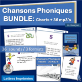 French Songs Chansons Phoniques BUNDLE 36 mp3's & Classroom Charts