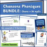 Chansons Phoniques BUNDLE 36 mp3's & Classroom Charts | Le