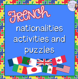 French nationalities vocabulary activities and puzzles