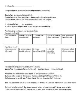 French negative expressions/ quelque chose/ quelqu'un notes and worksheets