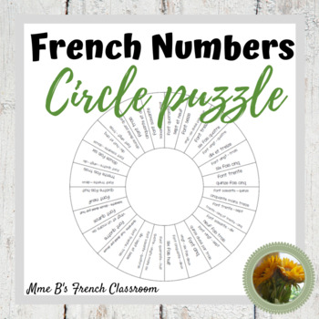 French number circle puzzle and matching activity