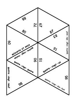 D'accord 1 Unité 3 (3B) French number puzzle (#s 60-100)