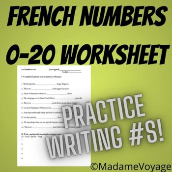 French numbers 0-20 worksheet