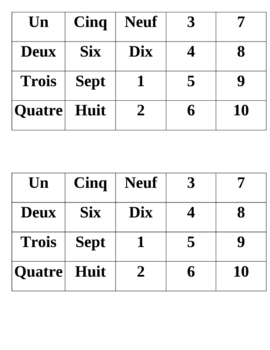 French numbers 1-10 memory game