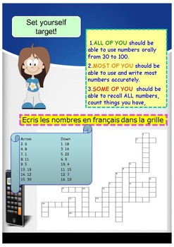 French numbers (30-100) nombres  booklet for beginners