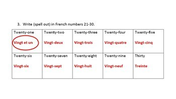 French numbers quiz 0-30