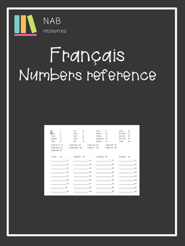 French - numbers - reference sheet