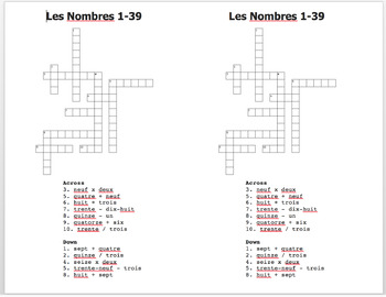 French numbers worksheets 1-39
