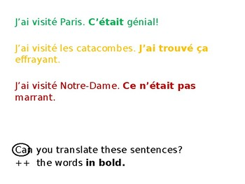 French - opinions in the past tense