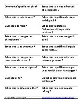 French oral activity #1 – Find the Answer
