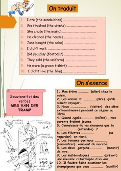 French passé composé, the perfect tense booklet for beginners/intermediate