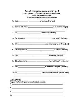 French passé composé practice packet